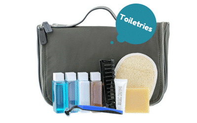 Toiletries in sample sizes